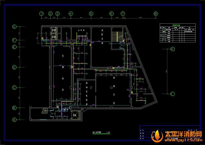 地下二层平面图 商场电气消防全套施工图