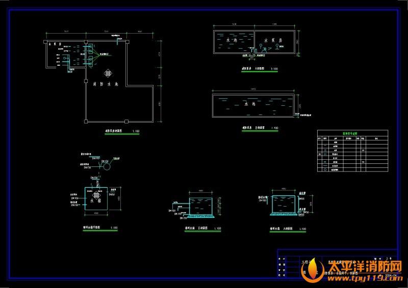 消防泵房、水箱剖面图 商场电气消防全套施工图