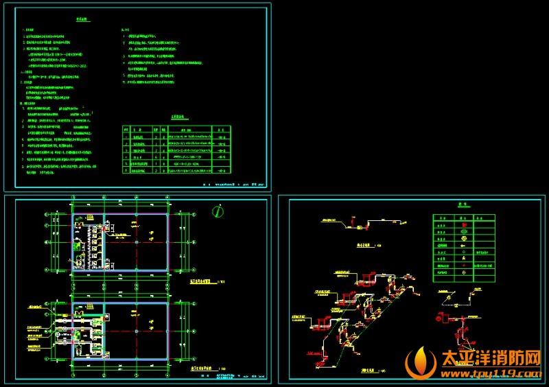 设计说明、地下室消防平面图、地下室设备布置图、消防系统图、给水系统图、排水系统图
