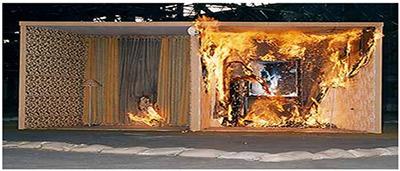 图7阻燃纺织品与未阻燃纺织品燃烧对比