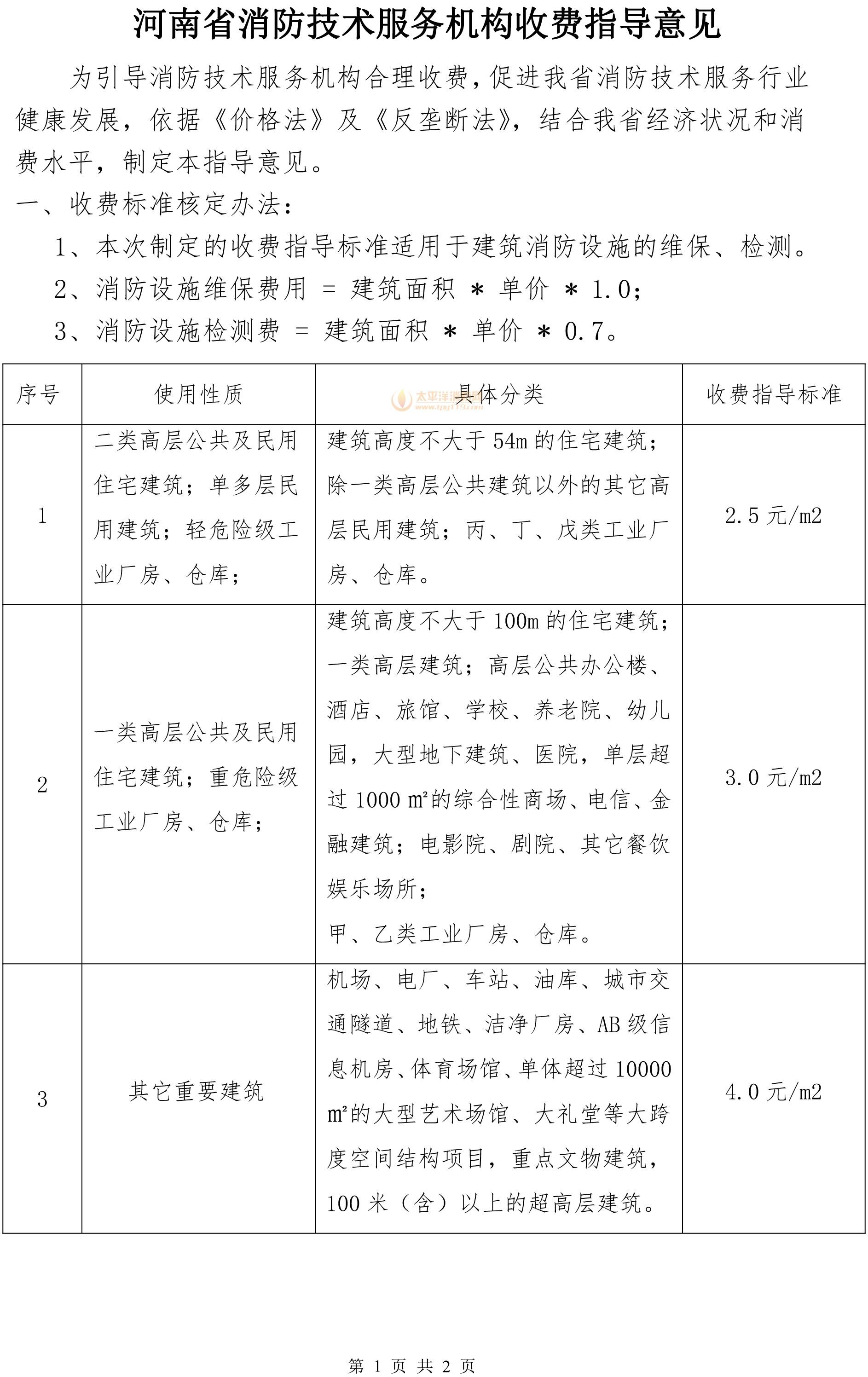 河南省消防维保检测收费指导价格