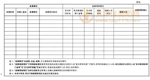 附录b 建筑消防设施故障维修记录表
