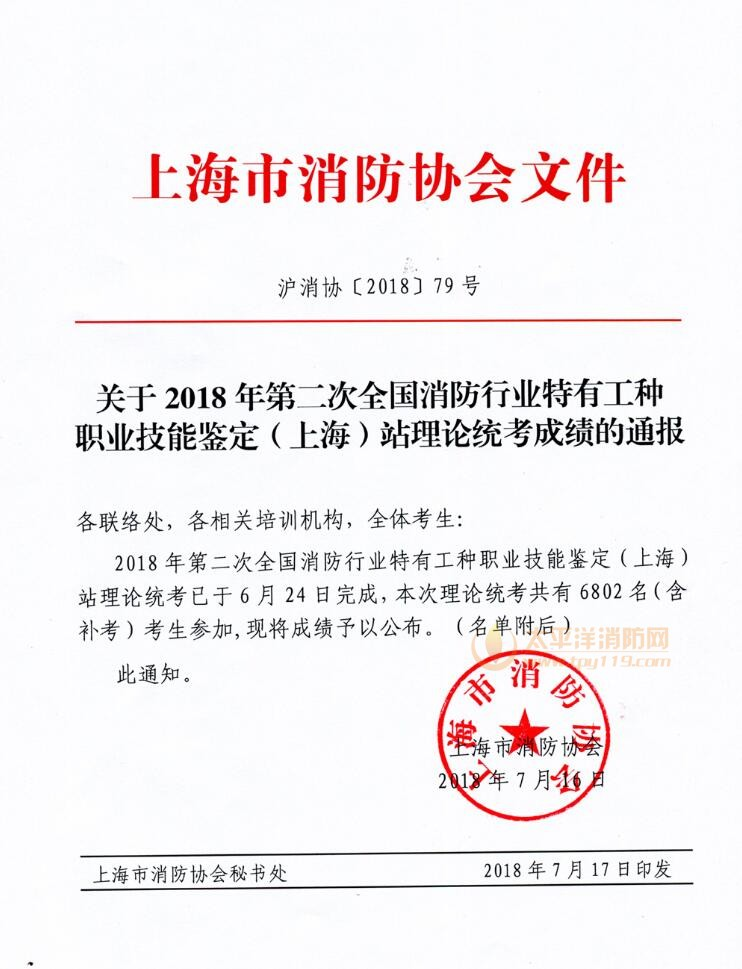 2018年第二次消防职业技能鉴定(上海)站理论成绩通报